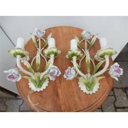 set bloemen wandlampen